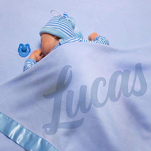Personalized Baby Large Blanket Font Options Gift 36x36 inch Satin Trim Fleece Nursery Room Decor Customized with Name (Pink)