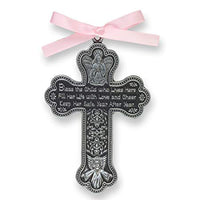 "Bless The Child - GUARDIAN ANGEL Baby GIRL Crib Cross 4"" PEWTER Medal - CHRISTENING - BABY SHOWER GIFT Baptism KEEPSAKE with PINK RIBBON GIFT BOXED (Original Version)"