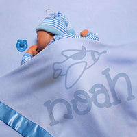 Personalized Baby Blankets w/Name - Large Baby Receiving Blanket - 36x36 in | Satin Trim, Fleece | Blue - Baby Boy Gifts, Baby Shower Gift, Baby Stuff, Welcome Baby Gifts for Newborns | Big Dinosaur
