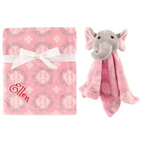 Personalized Animal Blanket & Security Blanket Set for Baby - Elephant | Custom Name or Monogram (Gray Elephant)
