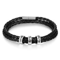 Personalized Stainless Steel Men Braid Black Bracelet with 2-5 Small Custom Beads Christmas Gift for Family