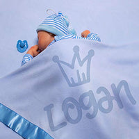 Personalized Baby Blankets w/Name - Large Baby Receiving Blanket - 36x36 in | Satin Trim, Fleece | Blue - Baby Boy Gifts, Baby Shower Gift, Baby Stuff, Welcome Baby Gifts for Newborns | Crown