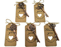 50pcs Skeleton Key Bottle Opener Wedding Party Favor Souvenir Gift with Escort Tag and Jute Rope(Golden Tone,5 styles)