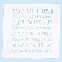 "Ocean Drop Designs - White Muslin Swaddle Blankets - Hold Me A Little Longer Quote - for Christening, Baptism, Baby Shower, Godchild Gift - 100% Cotton, Breathable - Machine Washable (47""x47"")"