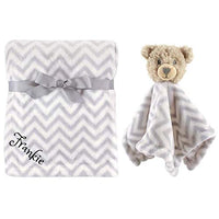 Personalized Animal Blanket & Security Blanket Set for Baby - Grey Elephant | Custom Name or Monogram (Grey Elephant)