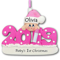 Personalized 2019 Baby's First Christmas Tree Ornament 1st Keepsake in Pink for Baby Girl with Santa Stocking Cap Hat and Bottle - New Mom Free Name Customization (Pink)
