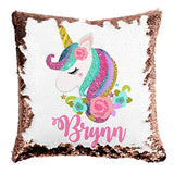 Custom Unicorn Reversible Sequin Pillow, Personalized Gifts for Girls, Mermaid Pillow, Kids Throw Pillow, Unicorn Decor, 6 Designs to Choose from, Crafted and Shipped from The USA! (Ltpink/White)