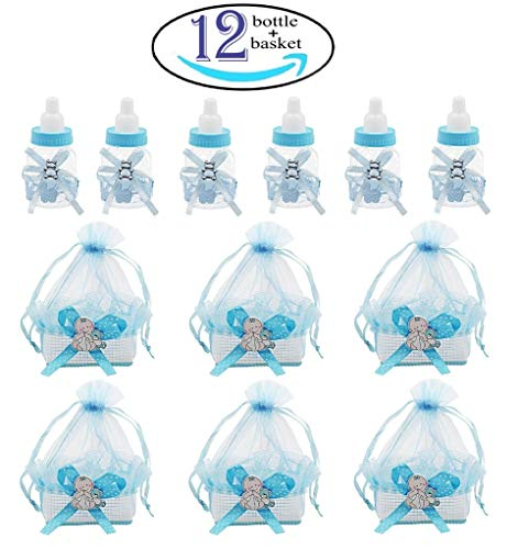 1st Birthday Party ,24Pcs Baby shower bottles with 24Pcs Organza baby shower candy bags for Baby shower party Supplies decorations favors,Pink,Noex direct (basket24old-1)
