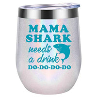 Valentines Day Gifts for Mom, Wife - Mama Shark Needs a Drink - Funny Mom Birthday Gifts - Mom Gifts from Daughter, Son - Mommy Shark, New Mom, Pregnant Mom, Mom to be Gifts - Coolife Wine Tumbler Mug