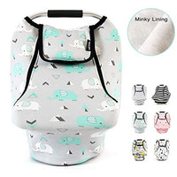 Stretchy Baby Car Seat Covers for Boys Girls, Infant Car Canopy Spring Autumn Winter,Snug Warm Breathable Windproof, Adjustable Peep Window,Insect Free,Universal Fit,Forest Fox