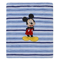Disney Mickey Mouse, Grey, Navy And Red Super Soft Plush Baby Blanket, Grey, Nay, Red