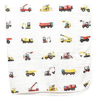 ADDISON BELLE 100% Organic Muslin Everything Blanket Oversized 47 inches x 47 inches - Best Baby/Toddler Gift - Premium 4 Layer Muslin Blanket/Dream Blanket (Construction Trucks Print)