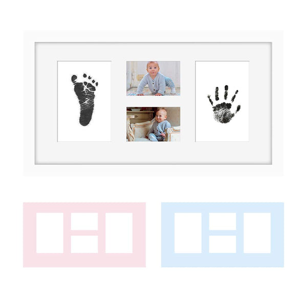 "Baby Hand & Footprint Photo Frame Kit –""Clean-Touch"" Ink Pad & White Frame Included, Personalized Gift for Showers, Registries & More, by Kubai"