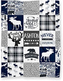 "Puddle Kickers Personalized Moose Minky Baby Blanket Woodland Boho for Boy (Soft Polyester Fleece - 30"" x 40"" - Navy Blue, Black and Gray)"