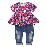 CARETOO Girls Clothes Outfits, Cute Baby Girl Floral Short Sleeve Pant Set Flower Ruffle Top