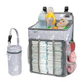 Selbor Baby Nursery Organizer and Diaper Caddy, Hanging Diaper Stacker Storage for Changing Table, Crib, Playard Wall - Baby Shower Gifts for Newborn Boys Girls (Star Elephant, Bottle Cooler Included)