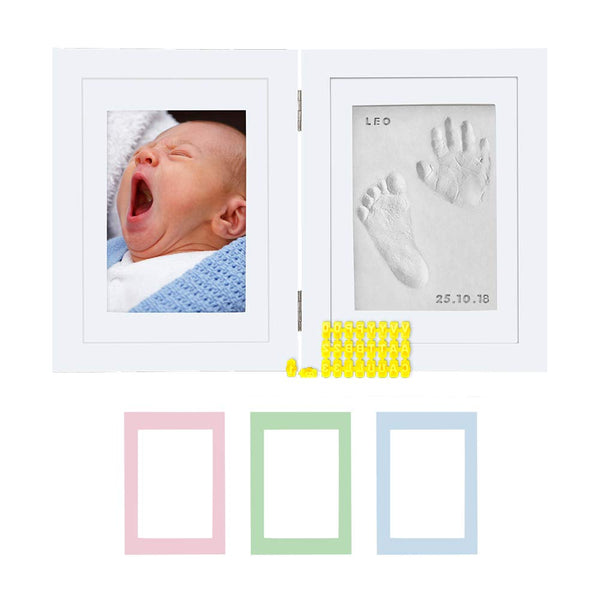 Baby Hand & Footprint Hinged Photo Frame Kit – for Baby Girls & Boys, Personalized Gift for Showers, Registries & More, White Frame, by Kubai