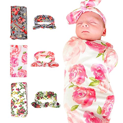 1-3 Pack Receiving Blanket with Headbands BQUBO Newborn Baby Floral PrintedBaby Shower Swaddle Gift