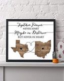 Two State Framed Print | Personalized Grandparent Sign | Long Distance Gift | Going Away Gift