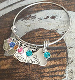 Personalized Heart Charm Bangle Grandma Bangle Grandchild Bracelet Handstamped Jewelry Mom Charm Bracelet Grandma Gift Mothers Day Gift
