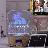 Christmas Gift Personalized Photo Night Light Bluetooth Led Lamp Color Changing Music Player Gift for Women Lover Family