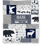 "Duck Hunting Baby Blanket for Boys, Personalized Ducks, Deer and Bears Woodland Baby Shower Gift - (Lightweight Minky Fleece - 30"" x 40"" White Back)"