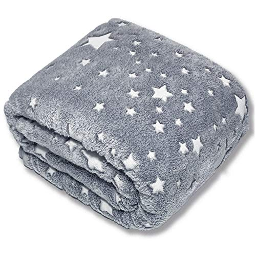 "Forestar Glow in The Dark Throw Blanket, Christmas Fun Gift for Girls Boys Kids, Premium Super Soft Fuzzy Fluffy Plush Furry Throw Blanket (50"" x 60"" Gray)"