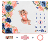 Sweetest Memories Baby Monthly Milestone Blanket | Large Extra Soft Flannel Fleece | Newborn to 12 Month Age Girl | Pink Floral Headband Bows | Photo Backdrop for Infant