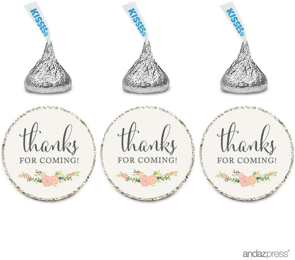 Andaz Press Chocolate Drop Labels Stickers, Thanks for Coming!, Floral Roses, 216-Pack, for Wedding Birthday Party Baby Bridal Shower Hershey's Kisses Party Favors Decor Envelope Seals