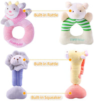 iPlay, iLearn 4 Plush Baby Soft Rattle Set, Hand Grab Sensory Toys, Organic Teether and Shaker, Farm Stuffed Animals, Shower Gifts for 2, 3, 6, 9, 12, 18 Month Olds Newborn, Infant, Toddler, Boy, Girl