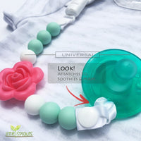 Pacifier Clip - 2 in 1 - Modern and Trendy - Teething Baby Silicone Beads with Unique Shapes - Girl's Binky Holder - Best for Teether Toys, Stuffed Animals, Soothie/MAM, Infant Blankets & Drool Bibs