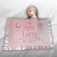 "Custom Personalized 3D Laser Engraved 30"" X 40"" Fleece Blanket with 2"" Satin Trim for Babies, Baby Shower, Birth, Baptism, Gender Reveal, Godh Bharai (Pink Moon and Sun)"