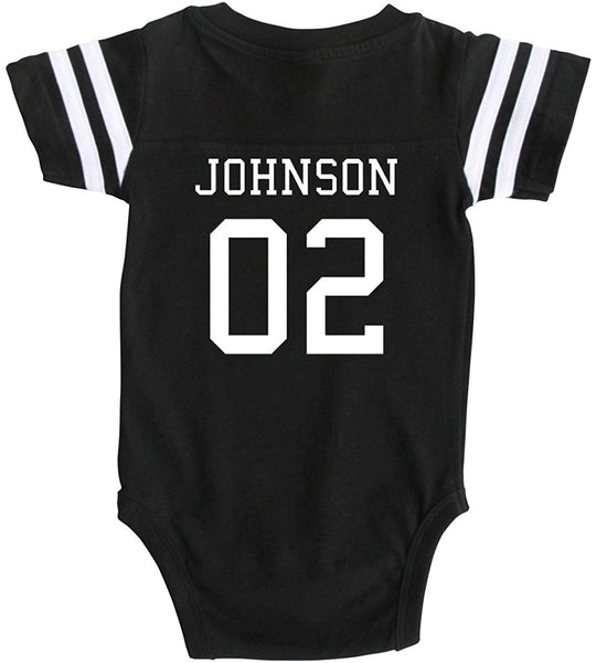 Custom Cotton Football Sport Jersey Baby Bodysuit Personalized with Name and Number - Back Only