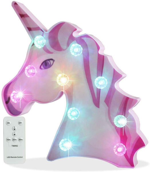 Pooqla Remote Control 3D Rainbow Unicorn Color Changing Unicorn Lamp Girls Night Light with Diamond Light Bulb, Unicorn Birthday Gifts Party Supply – Big Eye Unicorn Head Colorful Glow