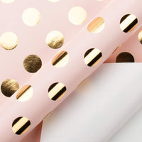 RUSPEPA Gift Wrapping Paper Roll-Gold Foil Dots Baby Pink Background Design for Wedding, Birthday, Shower, Congrats, and Holiday Gifts - 30 Inch X 32.8 Feet