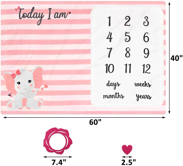 Eunikroko Pink Elephant Baby Monthly Milestone Blanket Pink Little Peanut Blanket Organic Plush Fleece for Newborn Baby Girl Photography Background Prop Soft Blanket with Frame