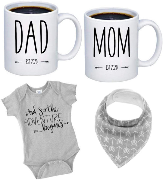 "Pregnancy Gift Est 2020 - New Mommy and Daddy Est 2020 11 oz Mug Heart Set with""Let Adventure Begin"" Romper (0-3 Months) - Top Mom and Dad Gift Set for New and Expecting Parents to Be - Baby Shower"