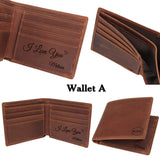 Custom Mens Engraved Leather Wallet, Anniversary Gifts for Men, Personalized Wallet Gifts for Men, Husband Gifts, Boyfriend Gifts, Gifts for Son, Dad Gifts
