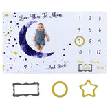 "OZMI Baby Monthly Milestone Blanket, Personalized Baby Blanket for Newborn Baby Boy and Girl, Best Photography Backdrop Photo Prop for Newborn, Baby Shower Gift, Large 60""x40""(Moon Style)"
