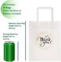 OSpecks 50 Pcs Medium Bulk Gift Bags with Thank You Print (No Bow or Ribbon), Premium White Kraft Paper Bags with Handles for Wedding, Reception, Business, Party, Craft Fair, Event, Size 8x4.75x10 in