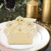 VGOODALL 100pcs Wedding Party Favor Boxes,Lace Candy Boxes Laser Cut Boxes Cajitas para Dulces for Wedding Bridal Shower Baby Shower Birthday Party(Gold)
