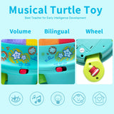 Musical Turtle Toy, English & Spanish Learning, Electronic Toys W/ Lights and Sounds, Early Educational Development Gift 6 7 8 9 10 11 12 Months, 1, 2 Year Olds Baby Infants Toddlers Boys Girls-Yellow