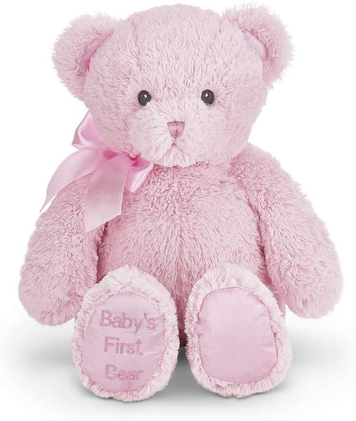 Bearington Baby's First Teddy Bear Pink Plush Stuffed Animal, 12 inches