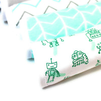Baby Burp Cloths, 5-Pack, Extra Soft and Absorbent, 100% Organic Cotton, Triple Layer, Unisex, Boy/Girl, Newborn Essential, Perfect Baby Gift, Baby Registry Must Have, Teal/Gray/White Pattern Design