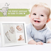 Baby Handprint Footprint Keepsake Kit - Baby Prints Photo Frame for Newborn - Baby Nursery Memory Art Kit Frames - Baby Shower Picture Frames for Baby Registry Boys,Girls (Alpine White)