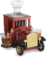 Whiskey Decanter Set NEW 2020 Christmas Gift with Crystal Glasses and Old Fashioned Vintage Car Stand - Personalized Gift Set for Men, Dad, Husband, Brother, Boss - Bar Accessories for Liquor, Scotch