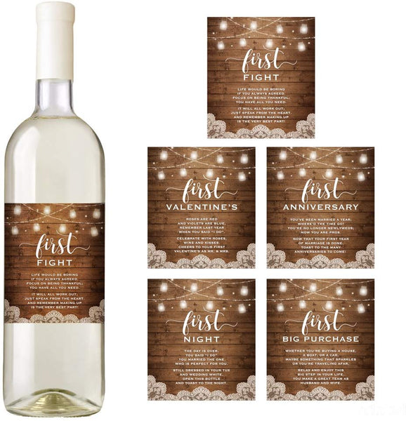 Rustic Wedding Wine Bottle Labels, Wedding Milestones, Marriage and Wedding Firsts, Bridal Shower Gift, Wedding gift