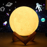 Reliancer Moon Lamp 7 inch 3D Printing Moon Night Light 16 LED Colors Adjustable Brightness Lunar Lamp w/Wooden Stand Remote and Touch Control USB Charging Birthday Gift Decor for Kids Baby Women Home