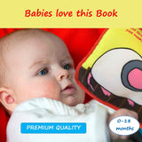 Premium Soft Baby Book, Cloth Book Baby Gift, Fun Interactive Toy, Fabric Book for Babies & Infant 1 Year Old (Boy, Girl) with Crinkly Sounds, Cute Baby Shower Box, Touch and Feel Activity, Peekaboo