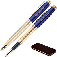 Personalized Braxton Ballpoint and Rollerball Pen Set - Blue. Real 18krt Gold Plated Double Pen Gift Set. For a Man or Women, Custom engraving is included. Comes in a Case